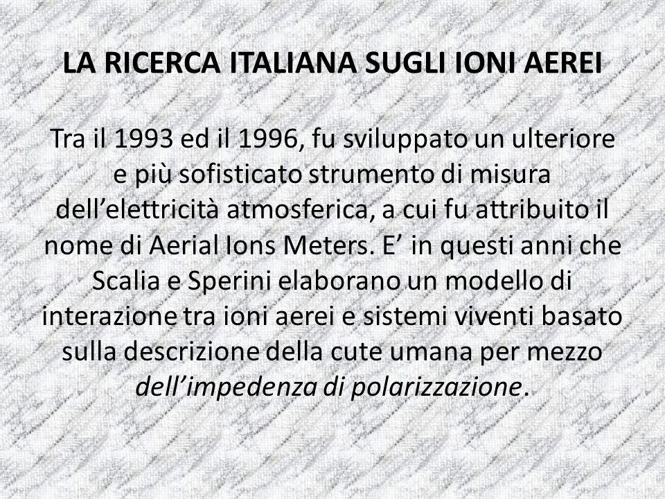 LA RICERCA ITALIANA SUGLI IONI AEREI Tra il 1993 ed il 1996, fu sviluppato un ulteriore e più sofisticato strumento di misura dellelettricità atmosfer