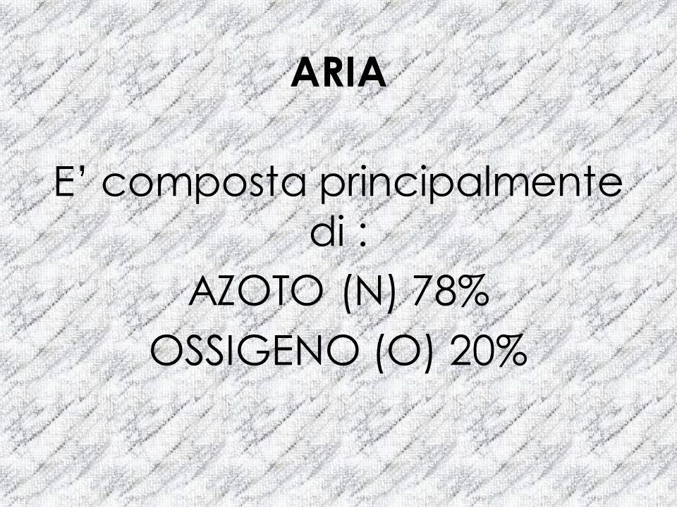 ARIA E composta principalmente di : AZOTO (N) 78% OSSIGENO (O) 20%