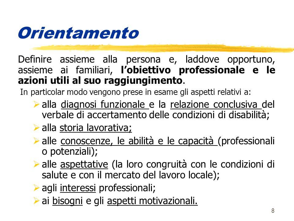 8 Orientamento Definire assieme alla persona e, laddove opportuno, assieme ai familiari, lobiettivo professionale e le azioni utili al suo raggiungimento.