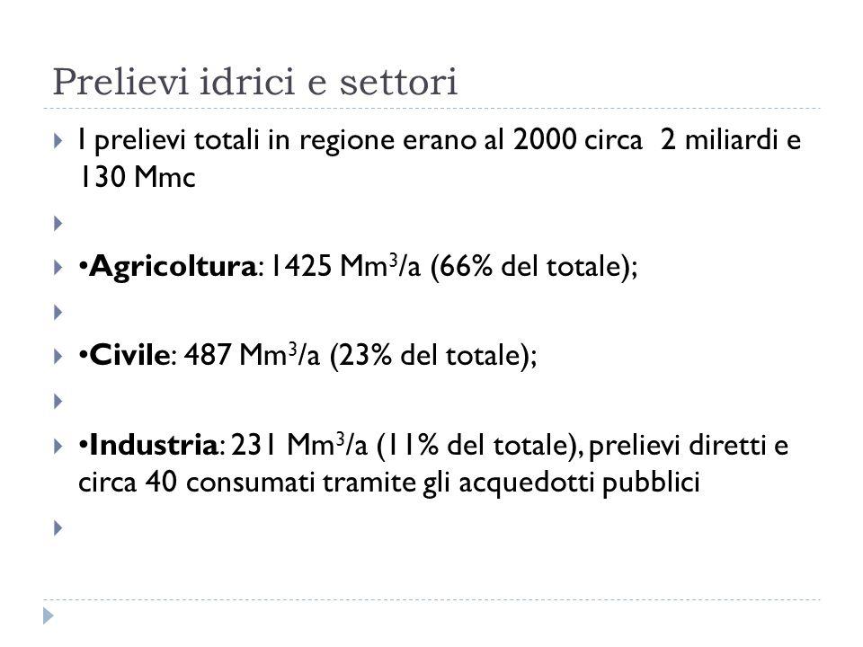 Prelievi idrici e settori I prelievi totali in regione erano al 2000 circa 2 miliardi e 130 Mmc Agricoltura: 1425 Mm 3 /a (66% del totale); Civile: 48