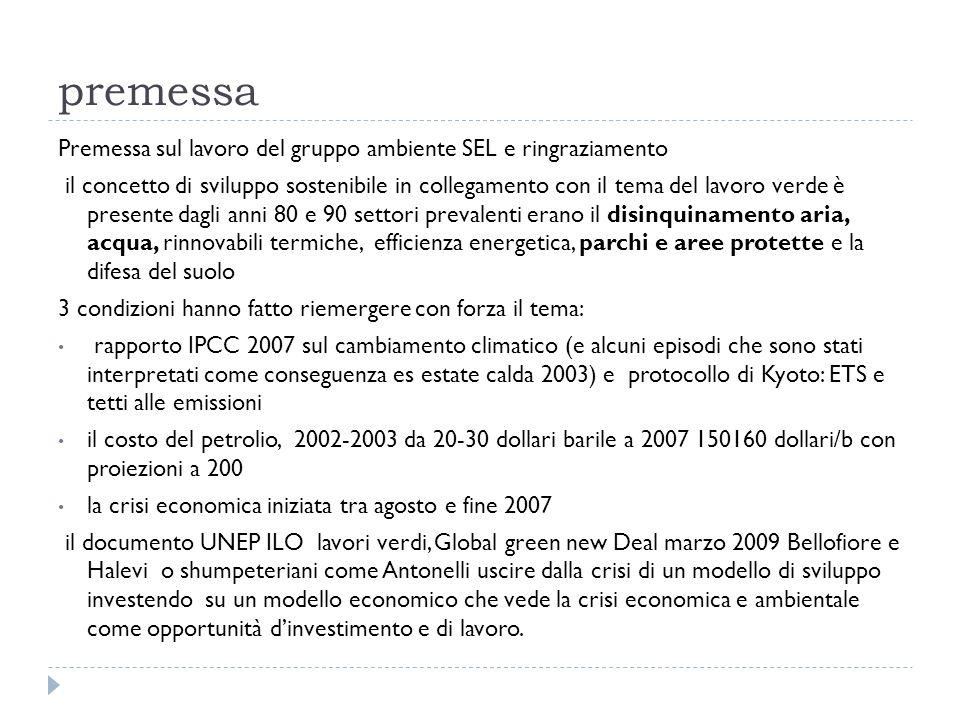 premessa Premessa sul lavoro del gruppo ambiente SEL e ringraziamento il concetto di sviluppo sostenibile in collegamento con il tema del lavoro verde