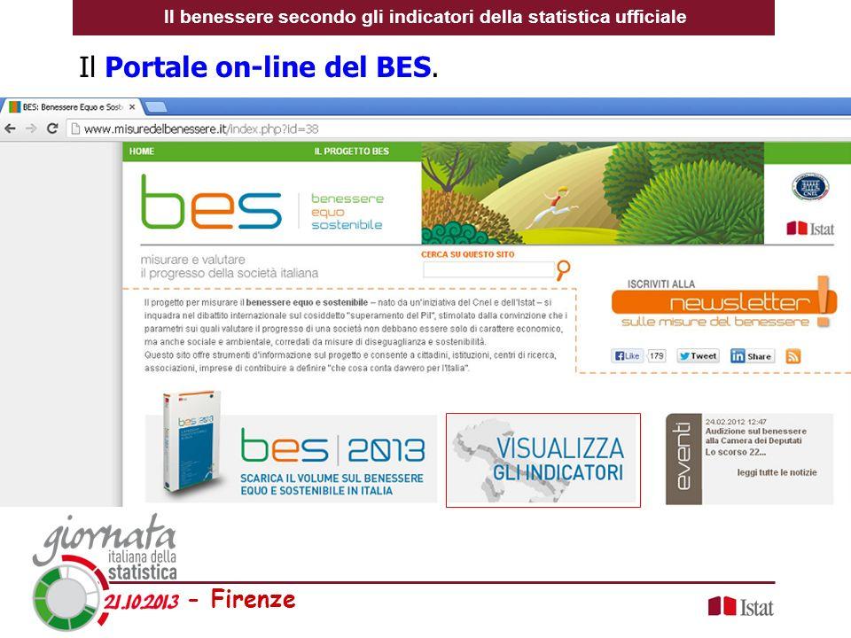 - Firenze Il Portale on-line del BES. Il benessere secondo gli indicatori della statistica ufficiale