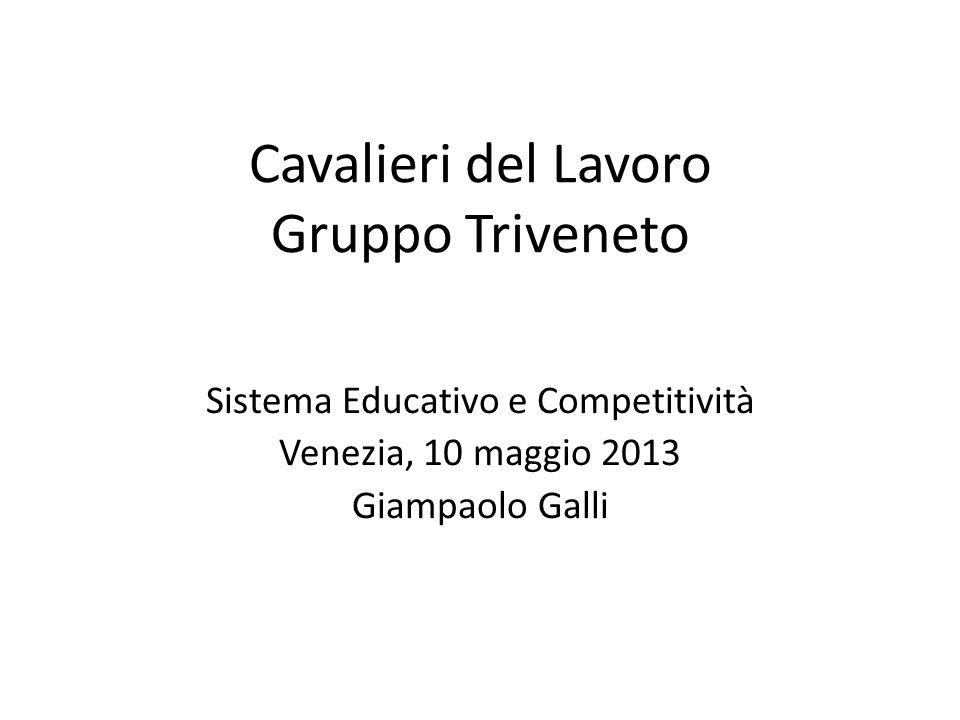 Cavalieri del Lavoro Gruppo Triveneto Sistema Educativo e Competitività Venezia, 10 maggio 2013 Giampaolo Galli