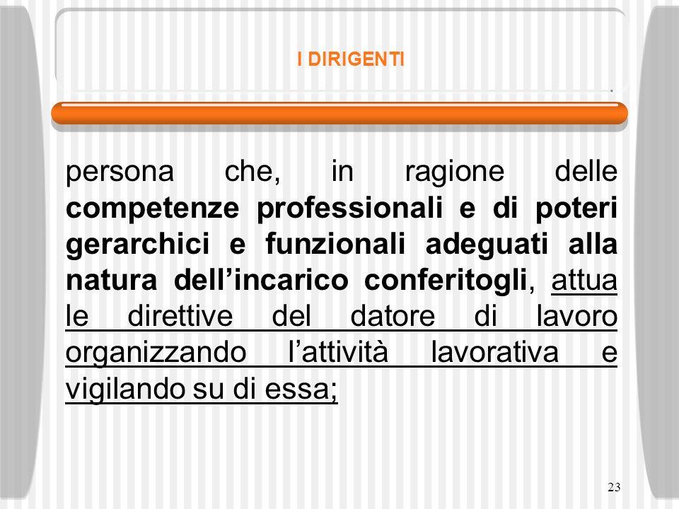 23 I DIRIGENTI persona che, in ragione delle competenze professionali e di poteri gerarchici e funzionali adeguati alla natura dellincarico conferitog