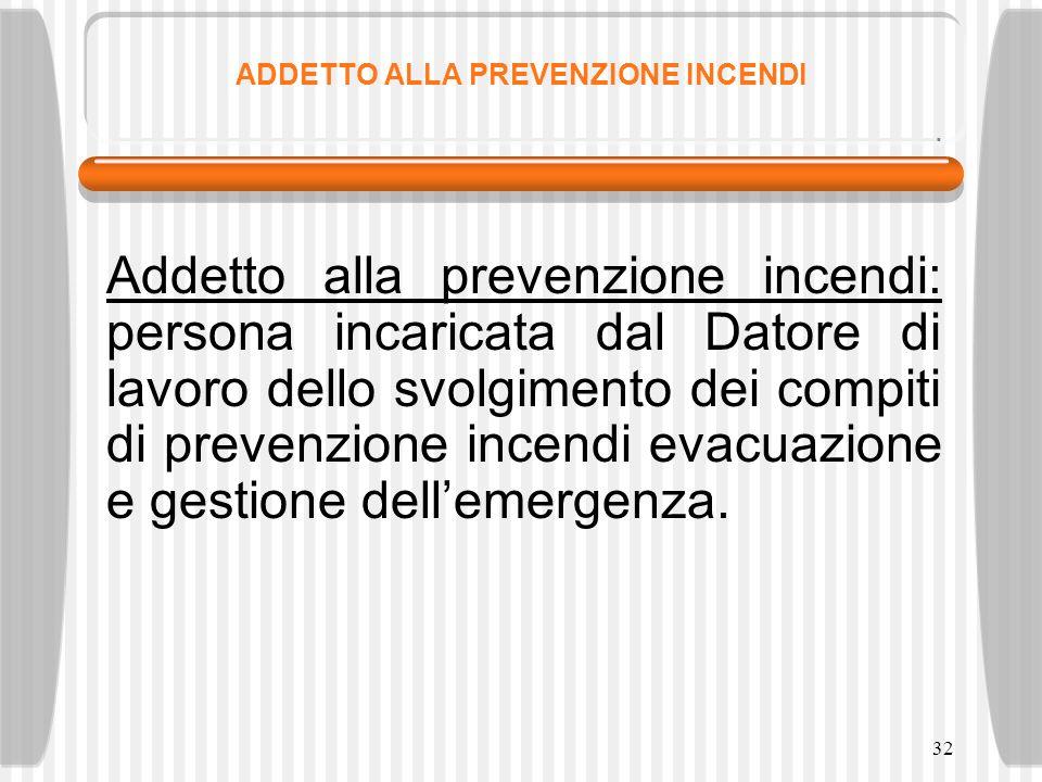 32 ADDETTO ALLA PREVENZIONE INCENDI Addetto alla prevenzione incendi: persona incaricata dal Datore di lavoro dello svolgimento dei compiti di prevenz
