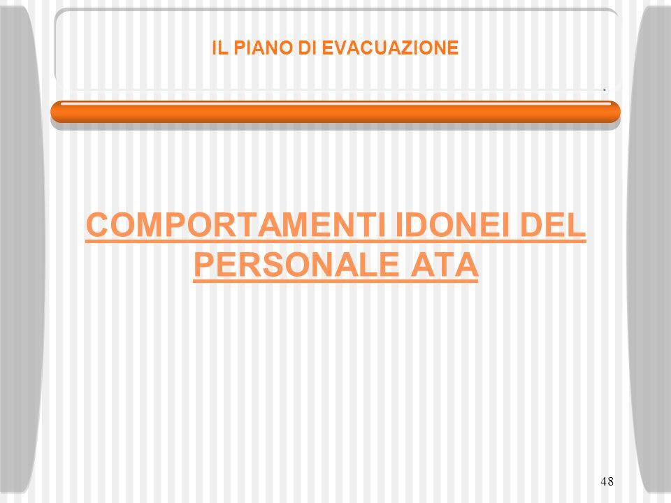 48 IL PIANO DI EVACUAZIONE COMPORTAMENTI IDONEI DEL PERSONALE ATA