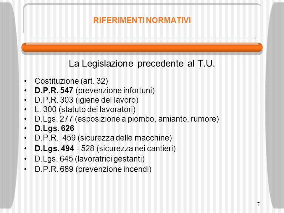 7 RIFERIMENTI NORMATIVI La Legislazione precedente al T.U. Costituzione (art. 32) D.P.R. 547 (prevenzione infortuni) D.P.R. 303 (igiene del lavoro) L.