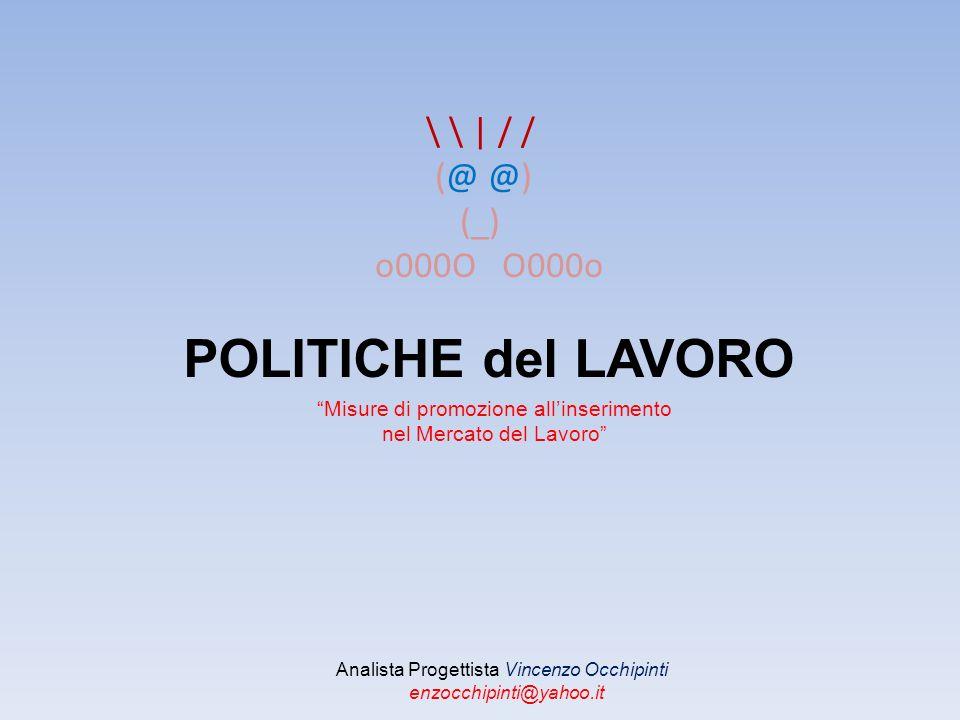 \ \ | / / (@ @) (_) o000O O000o POLITICHE del LAVORO Analista Progettista Vincenzo Occhipinti enzocchipinti@yahoo.it Misure di promozione allinserimento nel Mercato del Lavoro
