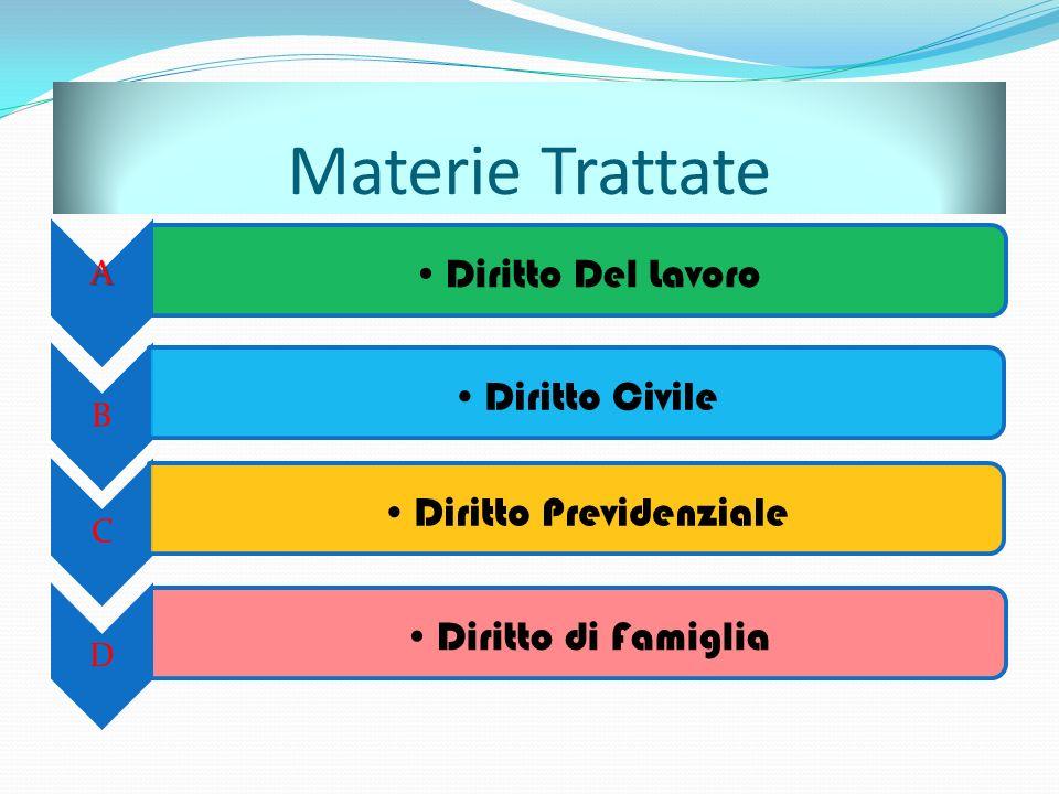 Materie Trattate A Diritto Del Lavoro B Diritto Civile C Diritto Previdenziale D Diritto di Famiglia