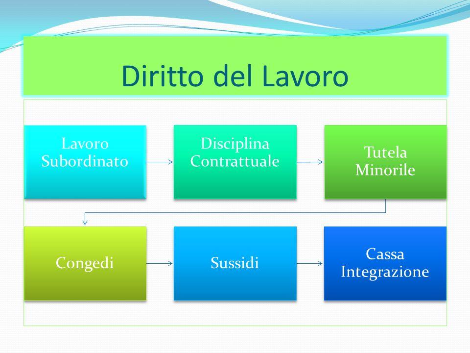 Diritto del Lavoro Lavoro Subordinato Disciplina Contrattuale Tutela Minorile CongediSussidi Cassa Integrazione