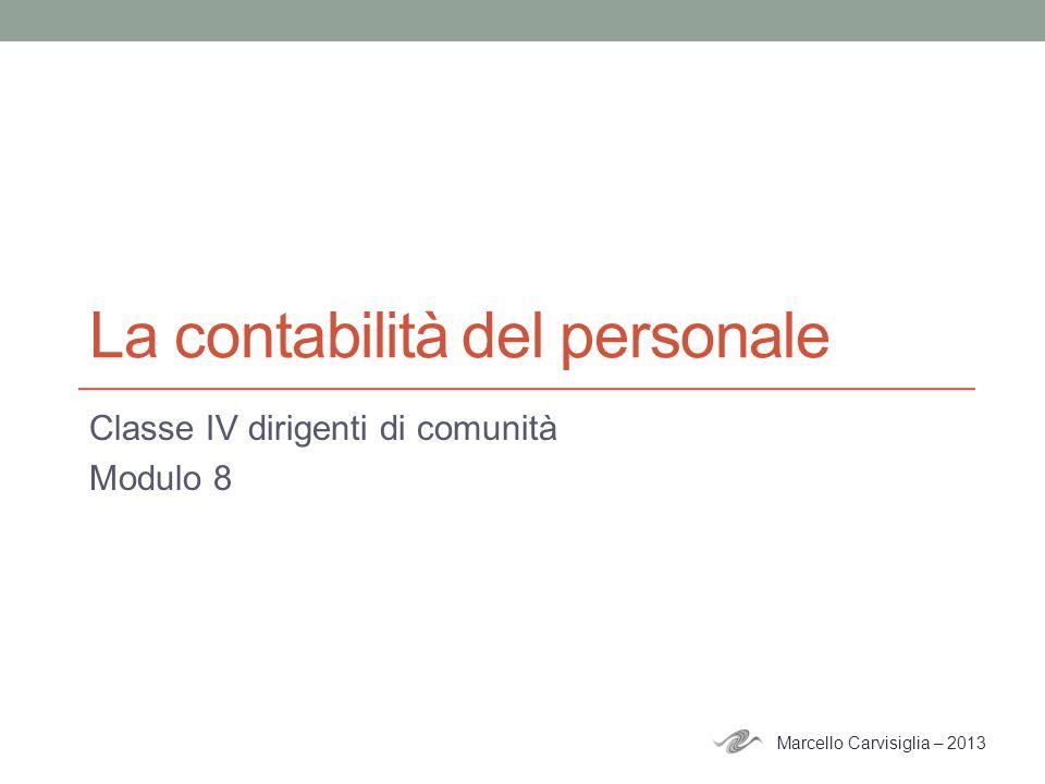 La contabilità del personale Classe IV dirigenti di comunità Modulo 8 Marcello Carvisiglia – 2013