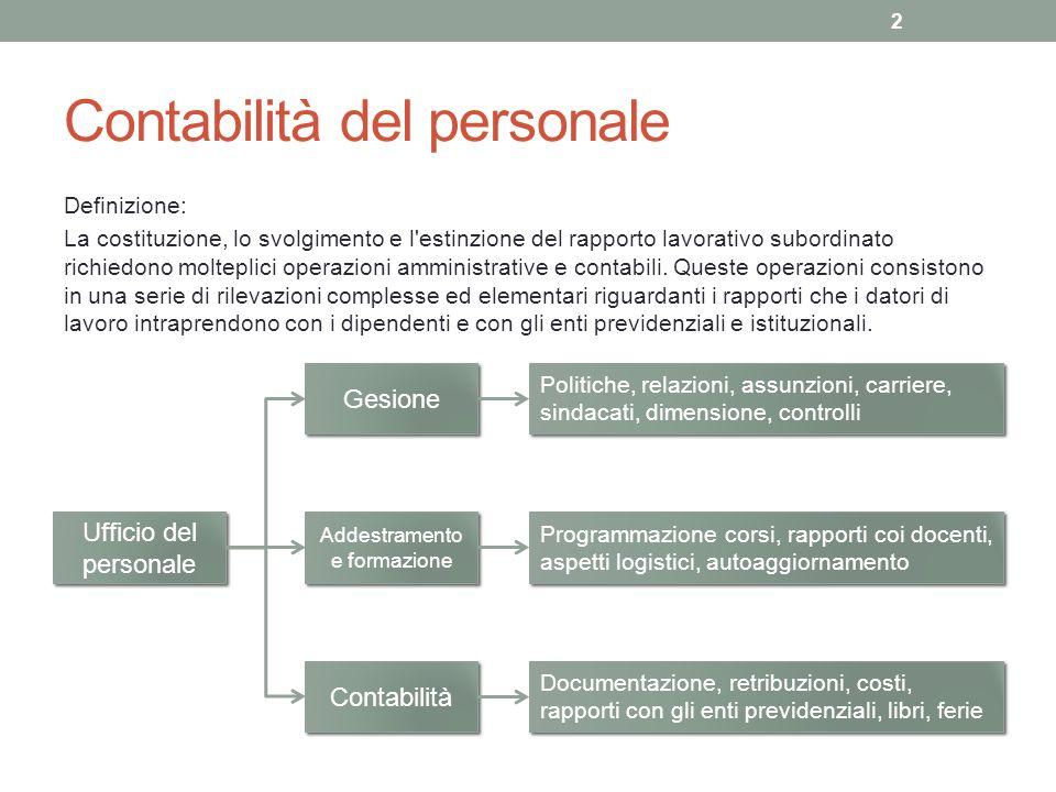 Contabilità del personale Definizione: La costituzione, lo svolgimento e l estinzione del rapporto lavorativo subordinato richiedono molteplici operazioni amministrative e contabili.