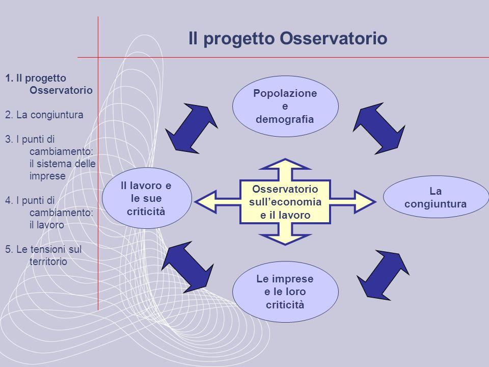 Leconomia si muove su valori simili al 2009 1.Il progetto Osservatorio 2.