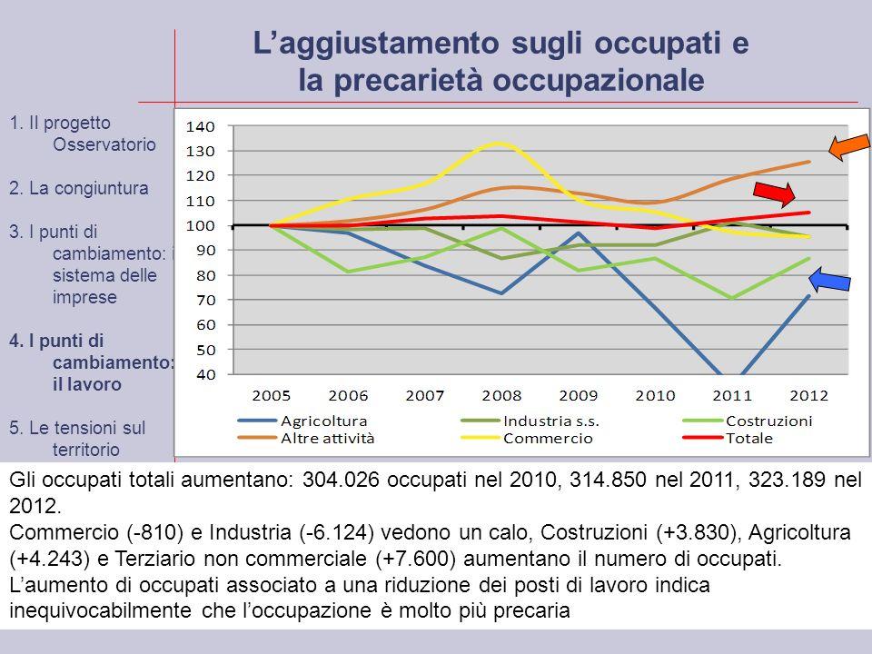 Laggiustamento sugli occupati e la precarietà occupazionale Gli occupati totali aumentano: 304.026 occupati nel 2010, 314.850 nel 2011, 323.189 nel 2012.