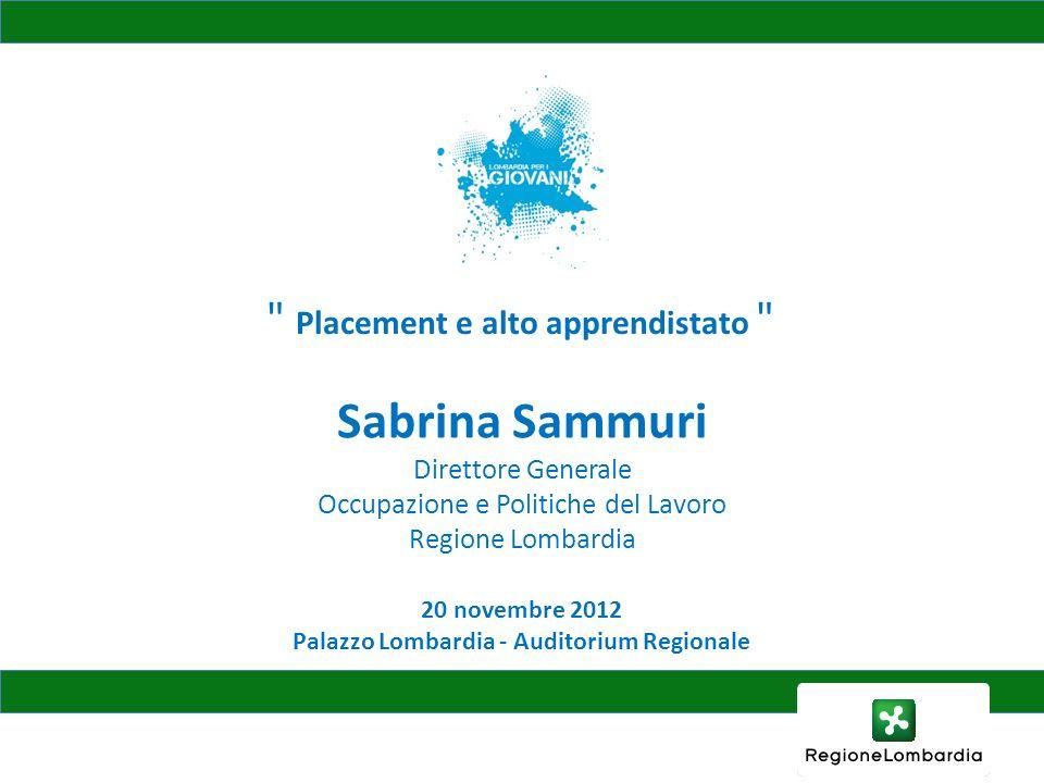 20 novembre 2012 Palazzo Lombardia - Auditorium Regionale Placement e alto apprendistato Sabrina Sammuri Direttore Generale Occupazione e Politiche del Lavoro Regione Lombardia
