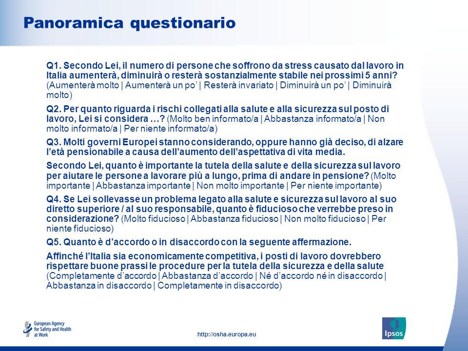 3 http://osha.europa.eu Panoramica questionario Q1.