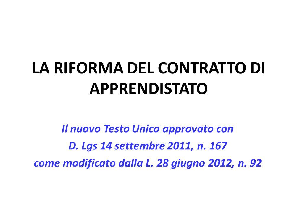 LA RIFORMA DEL CONTRATTO DI APPRENDISTATO Il nuovo Testo Unico approvato con D.