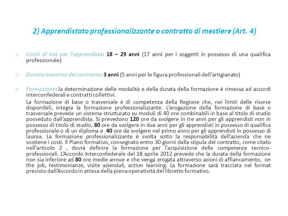 2) Apprendistato professionalizzante o contratto di mestiere (Art.