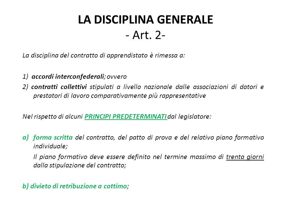 LA DISCIPLINA GENERALE - Art.