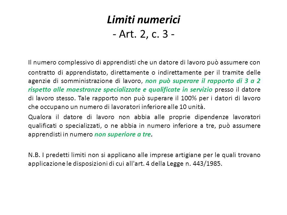Limiti numerici - Art. 2, c.
