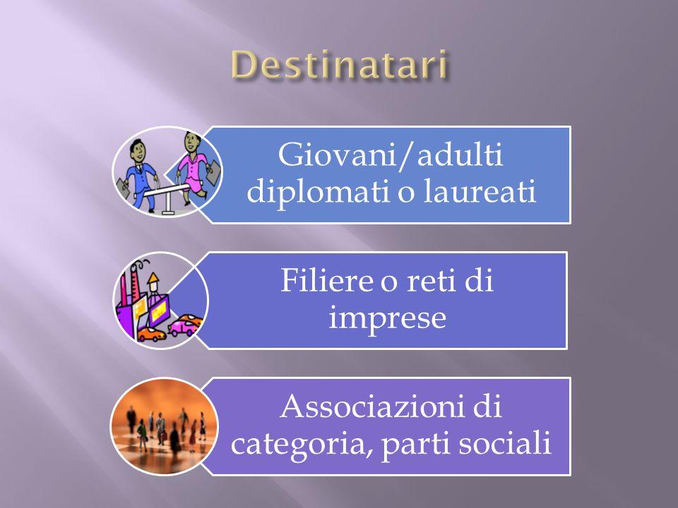 Giovani/adulti diplomati o laureati Filiere o reti di imprese Associazioni di categoria, parti sociali
