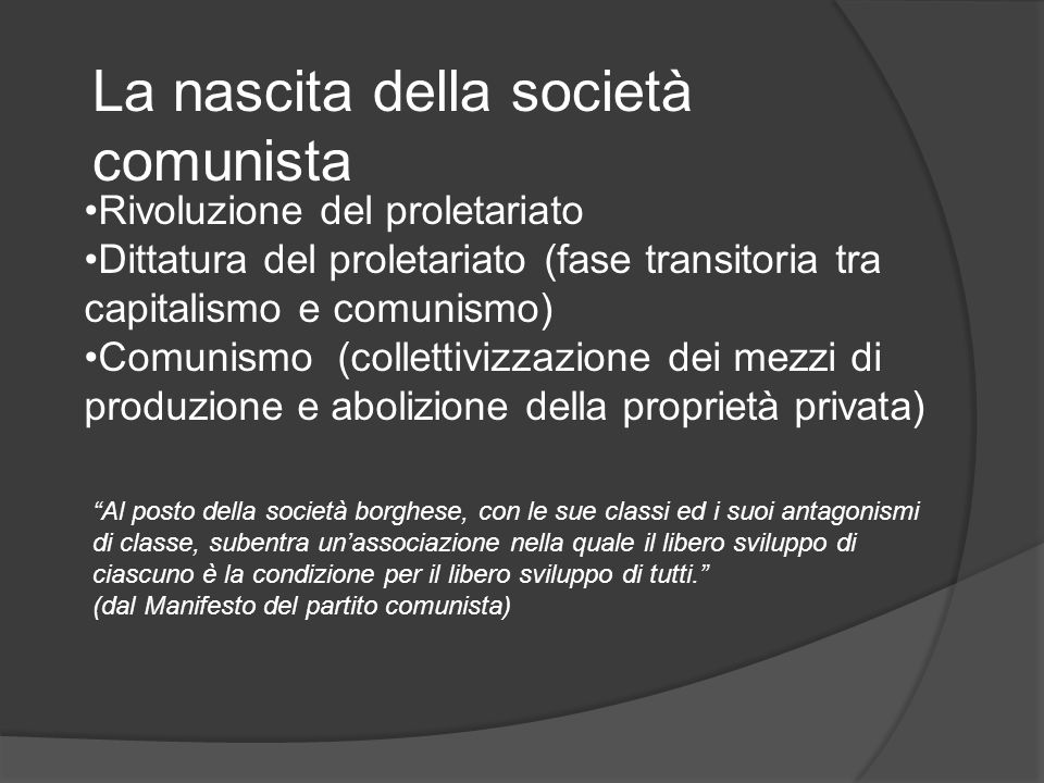 La nascita della società comunista Rivoluzione del proletariato Dittatura del proletariato (fase transitoria tra capitalismo e comunismo) Comunismo (collettivizzazione dei mezzi di produzione e abolizione della proprietà privata) Al posto della società borghese, con le sue classi ed i suoi antagonismi di classe, subentra unassociazione nella quale il libero sviluppo di ciascuno è la condizione per il libero sviluppo di tutti.