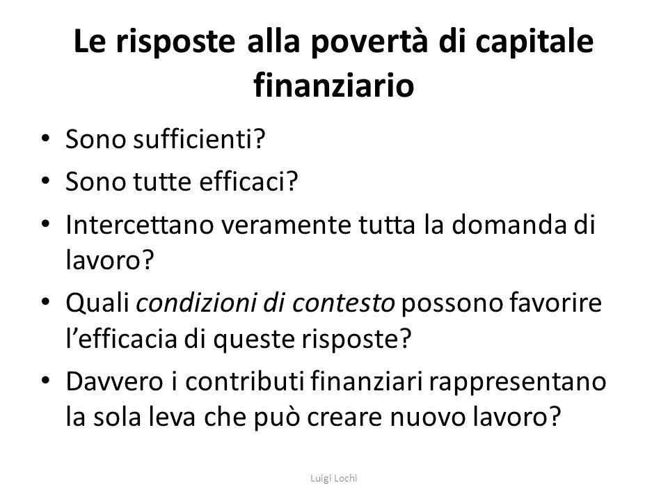 Le risposte alla povertà di capitale finanziario Sono sufficienti.