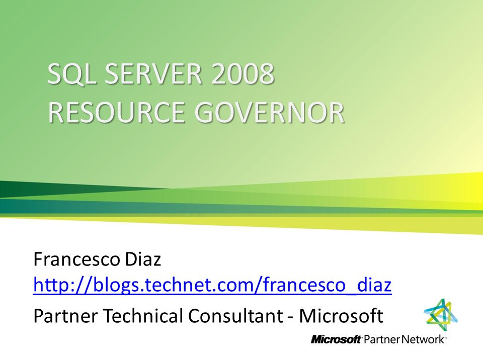 Agenda Introduzione I componenti di Sql Server Resource Governor Come funziona Sql Server Resource Governor Monitorare Sql Server Resource Governor Utilizzo di Sql Server Resource Governor DEMO 2