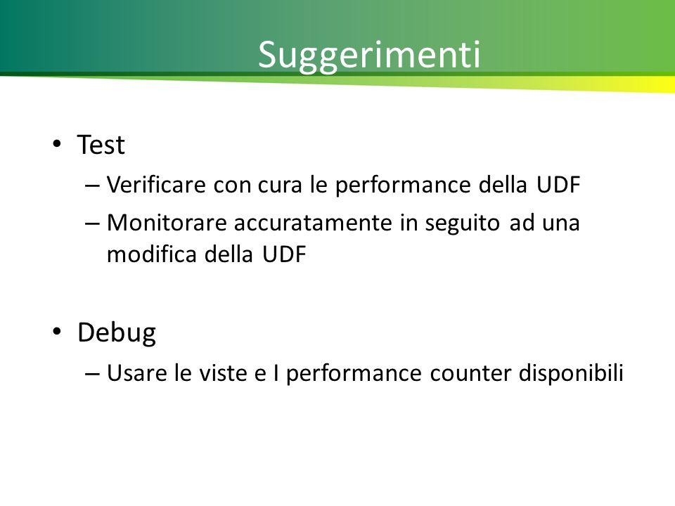 Suggerimenti Test – Verificare con cura le performance della UDF – Monitorare accuratamente in seguito ad una modifica della UDF Debug – Usare le viste e I performance counter disponibili 21