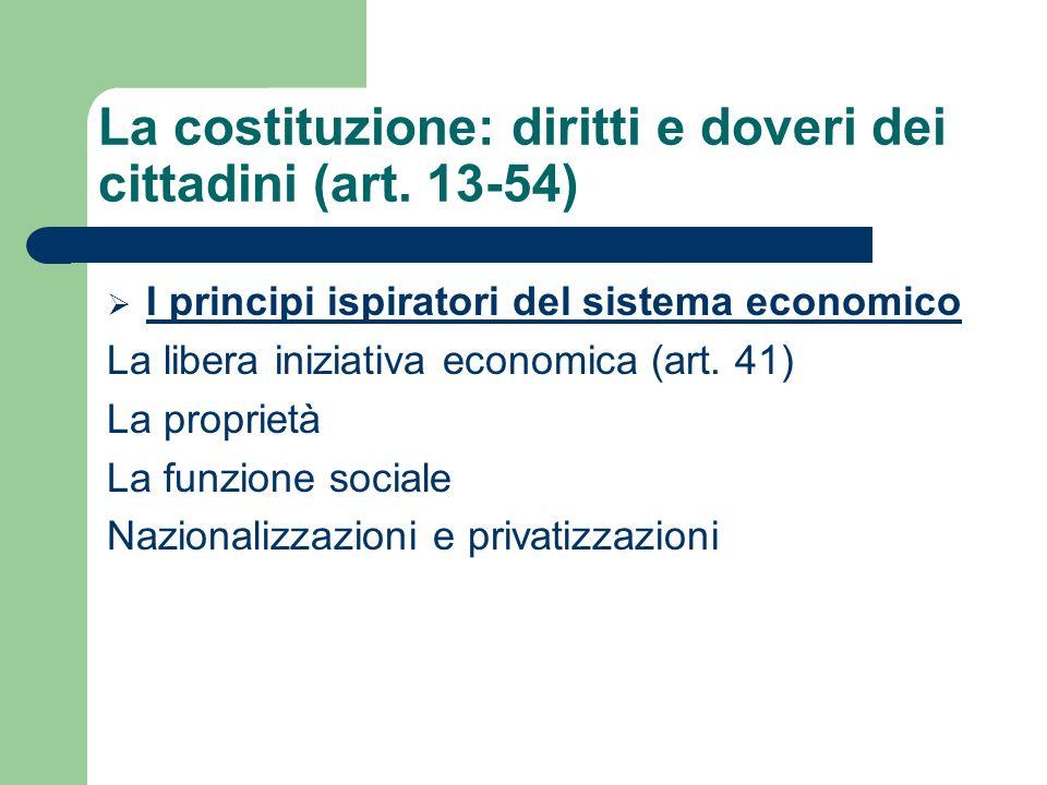 I principi ispiratori del sistema economico La libera iniziativa economica (art.