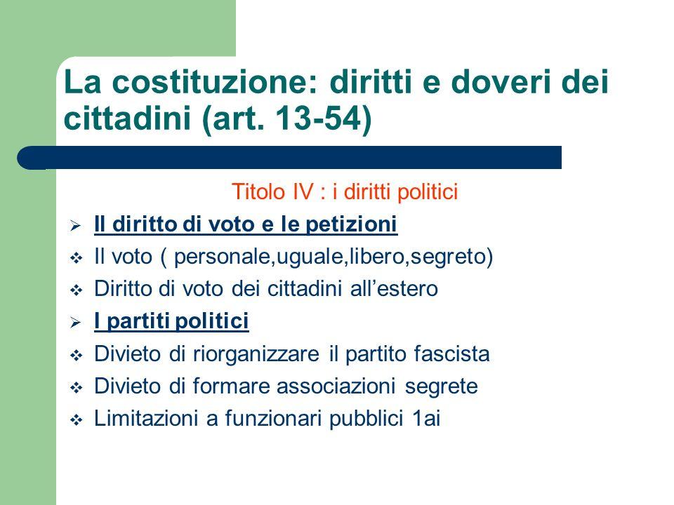 Titolo IV : i diritti politici Il diritto di voto e le petizioni Il voto ( personale,uguale,libero,segreto) Diritto di voto dei cittadini allestero I