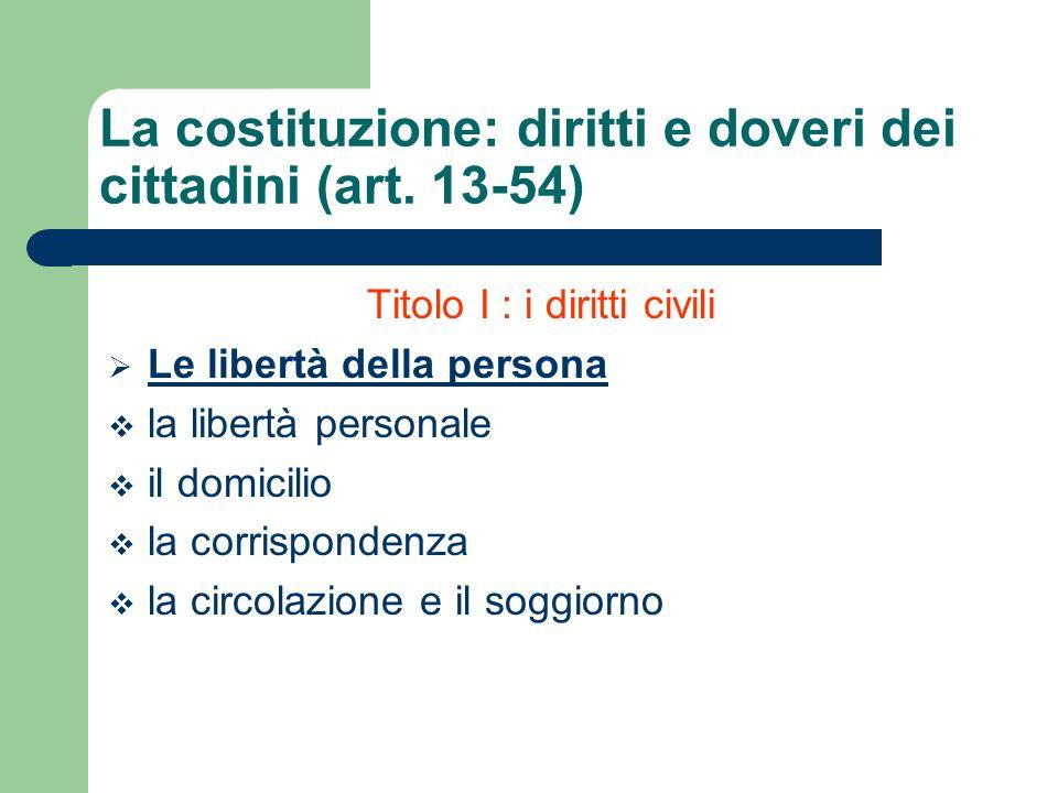 Titolo I : i diritti civili Le libertà della persona la libertà personale il domicilio la corrispondenza la circolazione e il soggiorno La costituzion