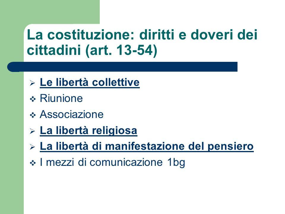 Le libertà collettive Riunione Associazione La libertà religiosa La libertà di manifestazione del pensiero I mezzi di comunicazione 1bg La costituzion