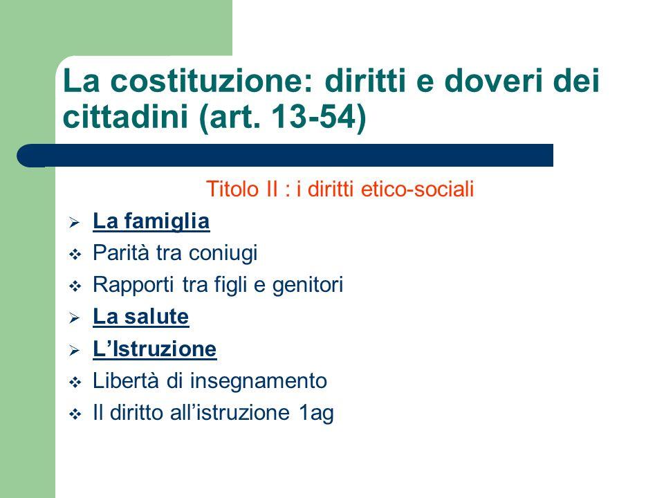 Titolo II : i diritti etico-sociali La famiglia Parità tra coniugi Rapporti tra figli e genitori La salute LIstruzione Libertà di insegnamento Il diri