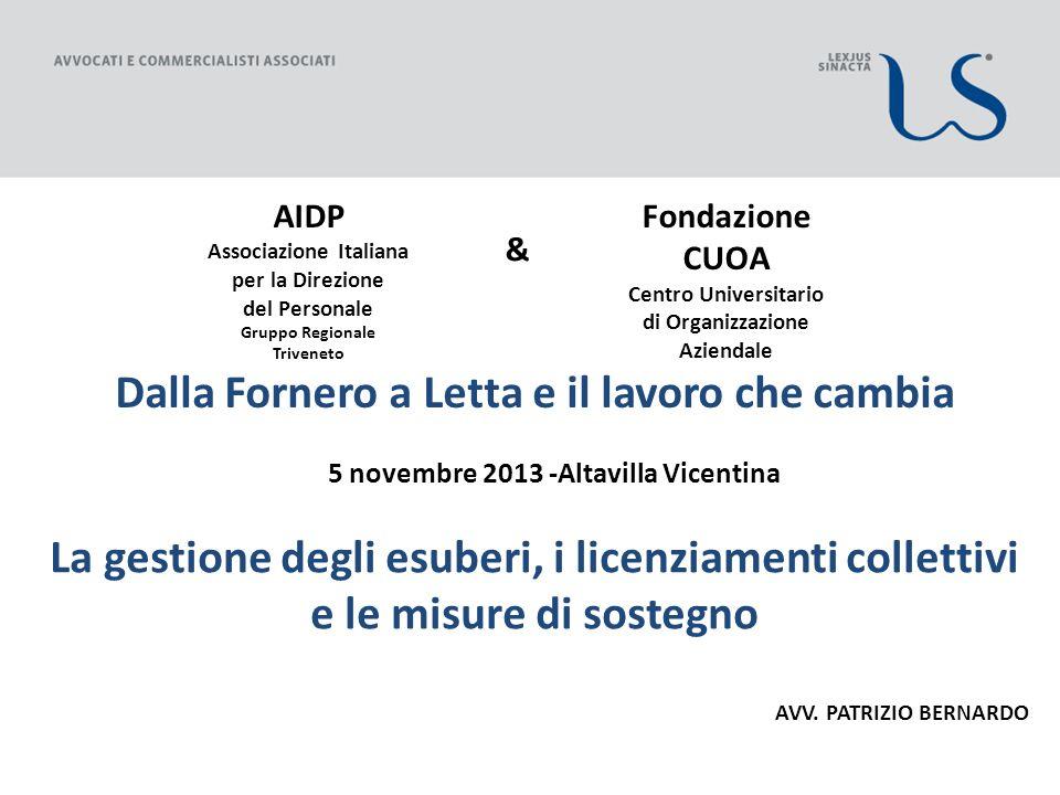 Dalla Fornero a Letta e il lavoro che cambia 5 novembre 2013 -Altavilla Vicentina La gestione degli esuberi, i licenziamenti collettivi e le misure di sostegno AVV.