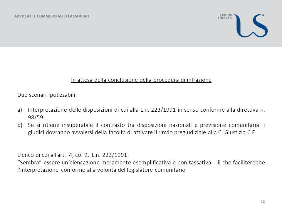 10 In attesa della conclusione della procedura di infrazione Due scenari ipotizzabili: a)Interpretazione delle disposizioni di cui alla L.n.