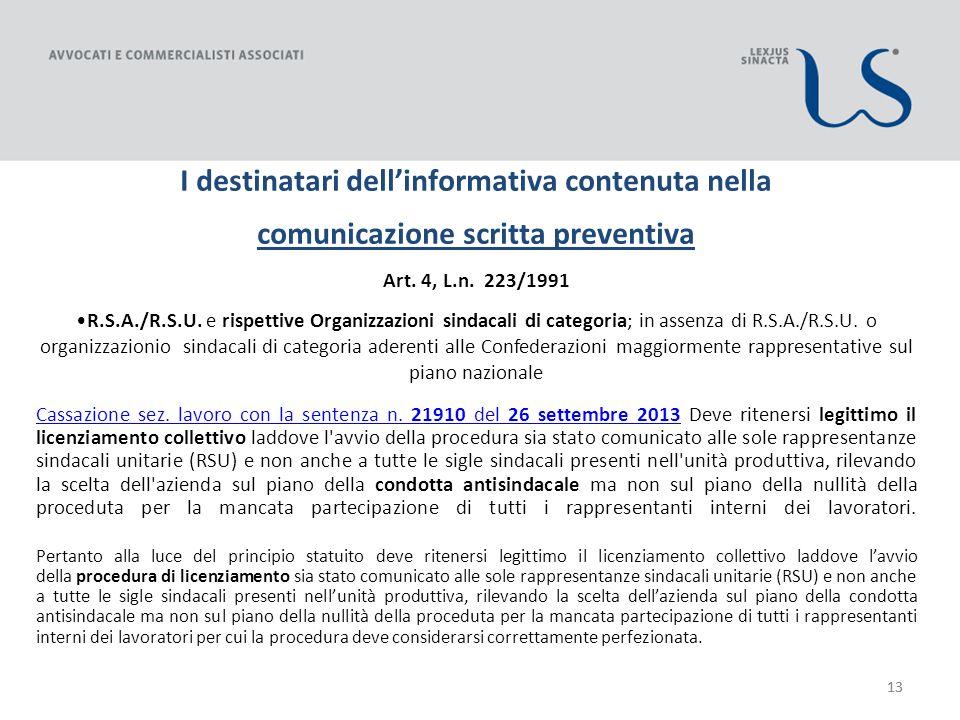13 I destinatari dellinformativa contenuta nella comunicazione scritta preventiva Art.