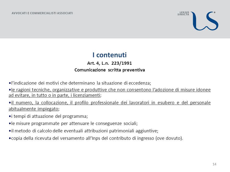 14 I contenuti Art. 4, L.n.