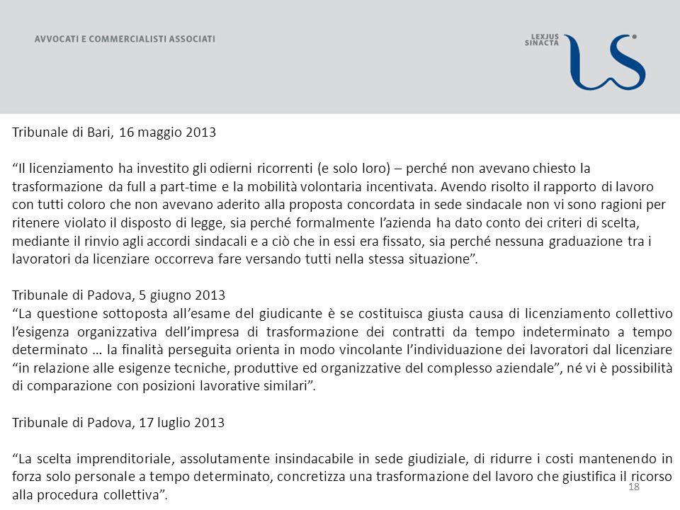 18 Tribunale di Bari, 16 maggio 2013 Il licenziamento ha investito gli odierni ricorrenti (e solo loro) – perché non avevano chiesto la trasformazione da full a part-time e la mobilità volontaria incentivata.