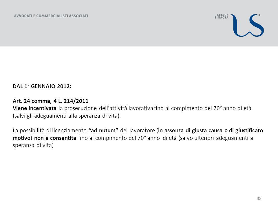 33 DAL 1° GENNAIO 2012: Art. 24 comma, 4 L.