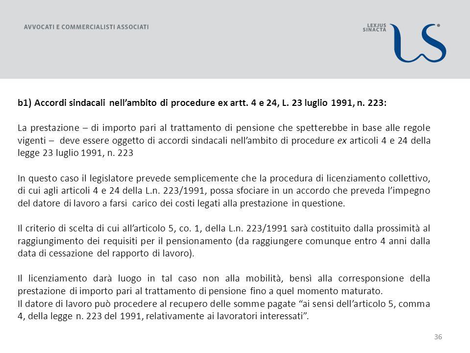 36 b1) Accordi sindacali nellambito di procedure ex artt.