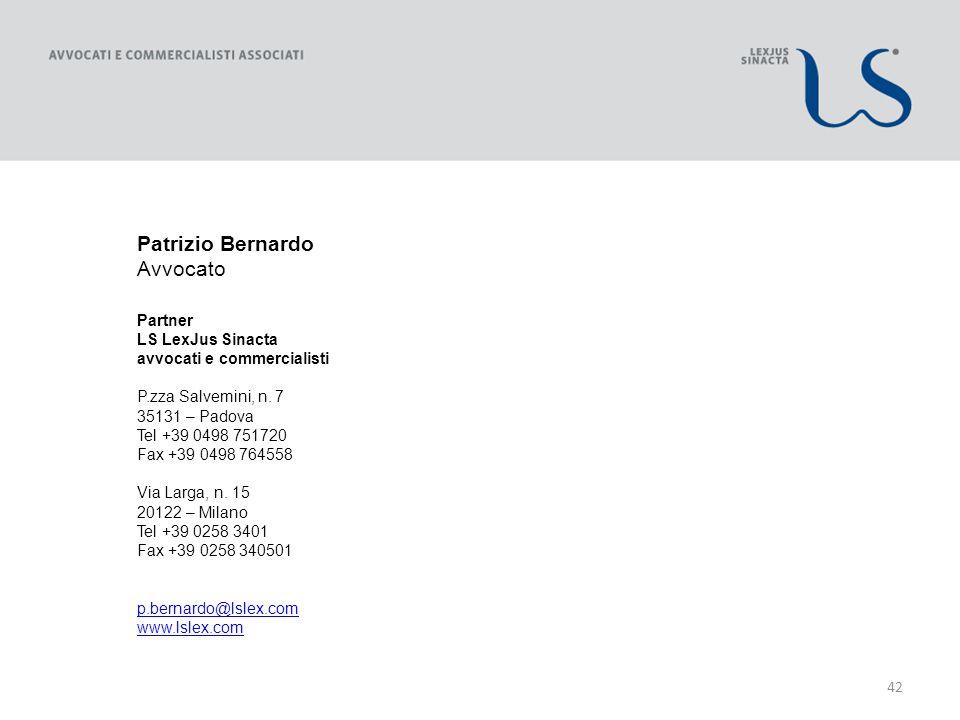 42 Patrizio Bernardo Avvocato Partner LS LexJus Sinacta avvocati e commercialisti P.zza Salvemini, n.
