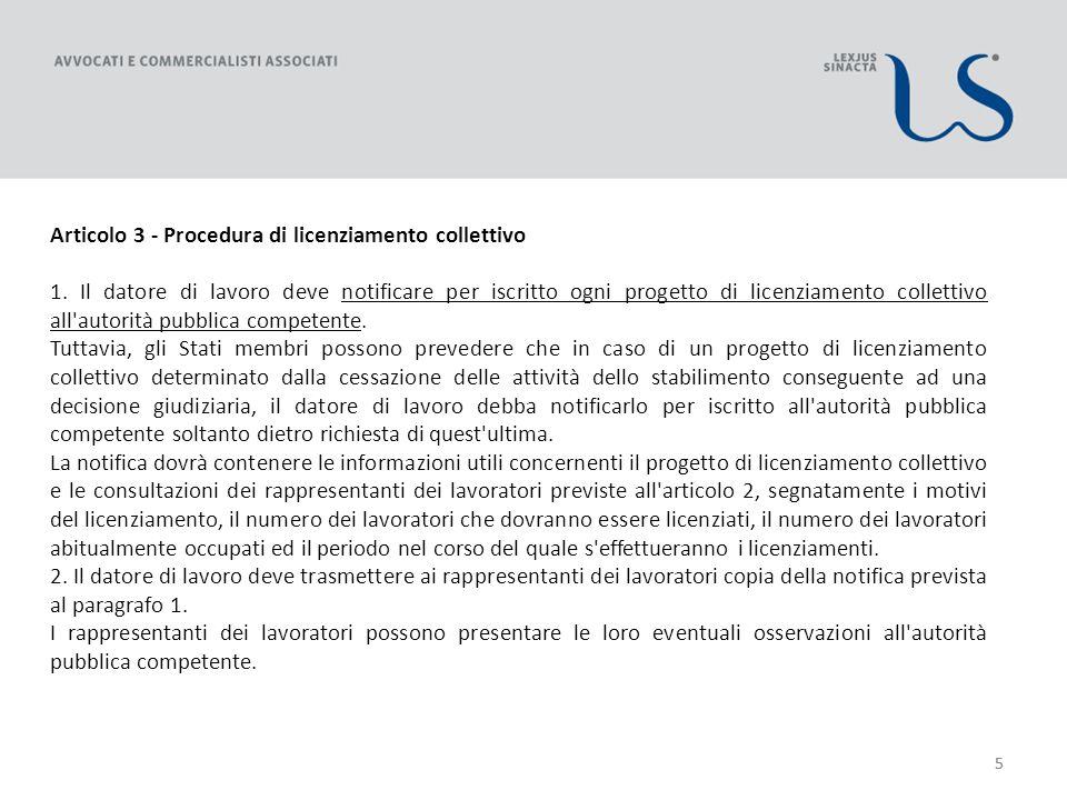 55 Articolo 3 - Procedura di licenziamento collettivo 1.