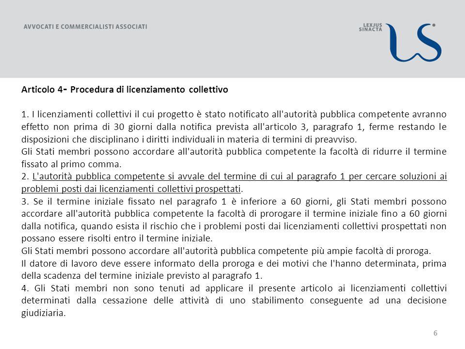 66 Articolo 4 - Procedura di licenziamento collettivo 1.