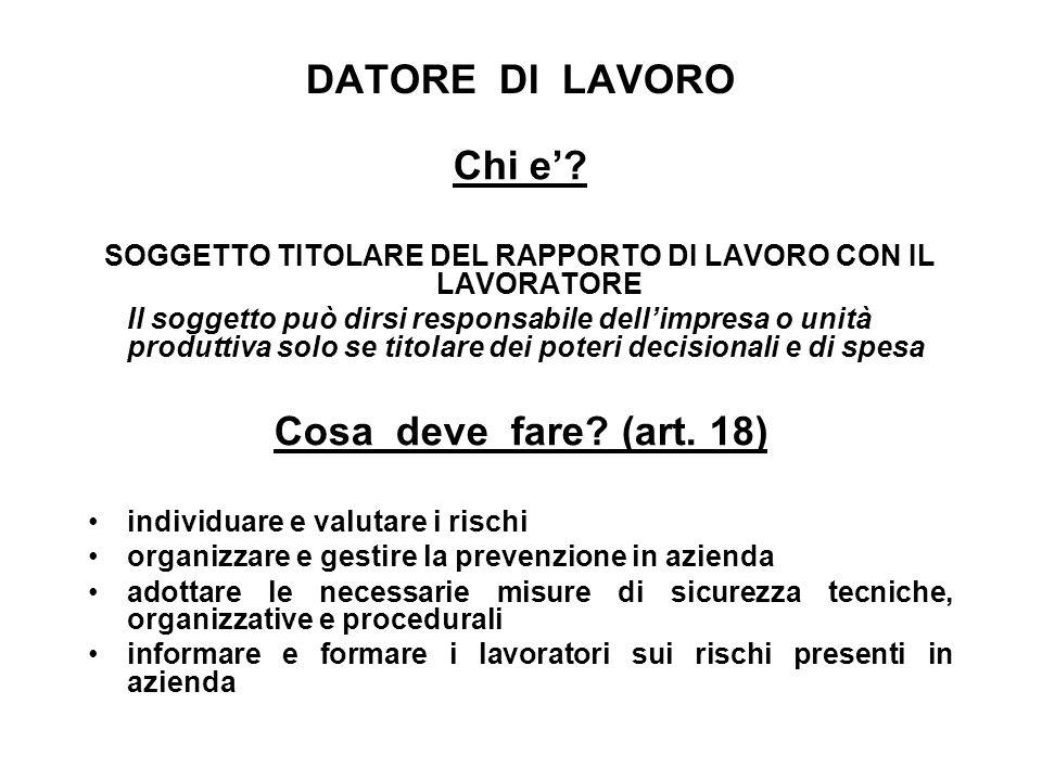 DATORE DI LAVORO Chi e.