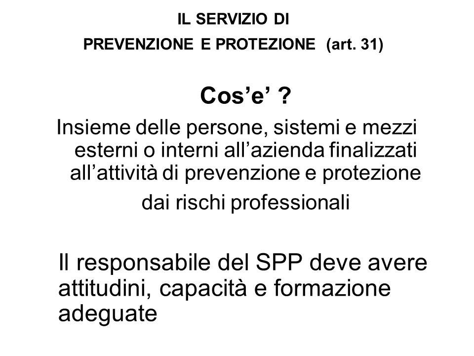 IL SERVIZIO DI PREVENZIONE E PROTEZIONE (art. 31) Cose .