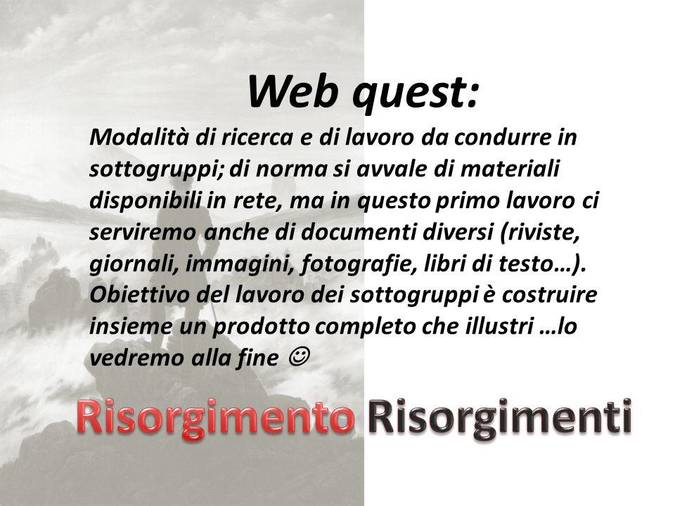 Operate una scelta tra gli uomini che fecero il Risorgimento, tra quelli che ritenete i più significativi (es.