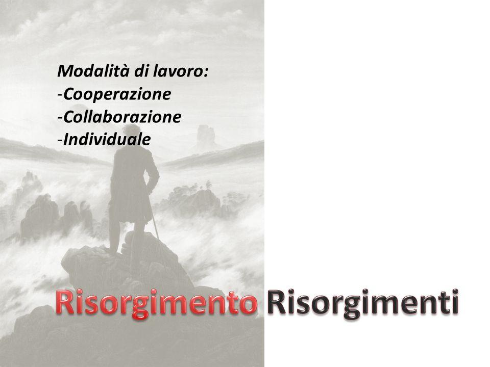 Modalità di lavoro: -Cooperazione -Collaborazione -Individuale