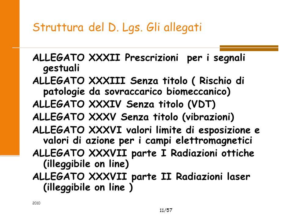 11/57 2010 Struttura del D. Lgs.