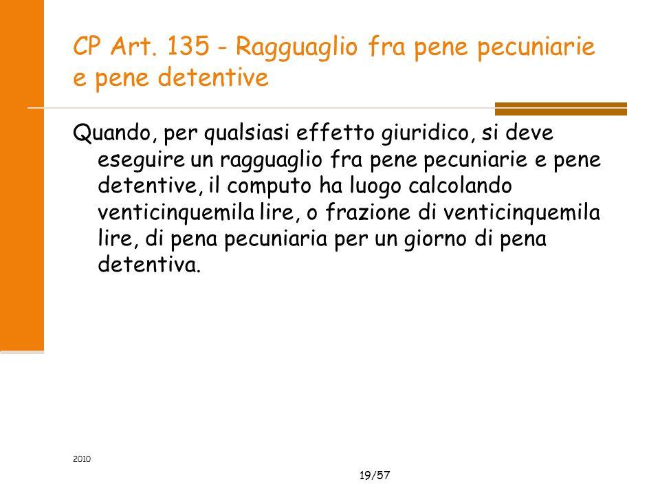 19/57 CP Art. 135 - Ragguaglio fra pene pecuniarie e pene detentive Quando, per qualsiasi effetto giuridico, si deve eseguire un ragguaglio fra pene p